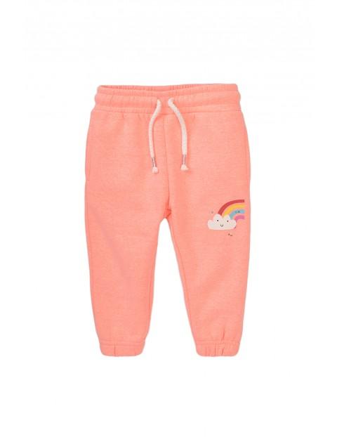Spodnie dresowe niemowlęce różowe z tęczą