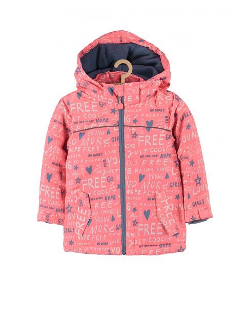 Kurtka narciarska dla dziewczynki- różowa z odblaskami