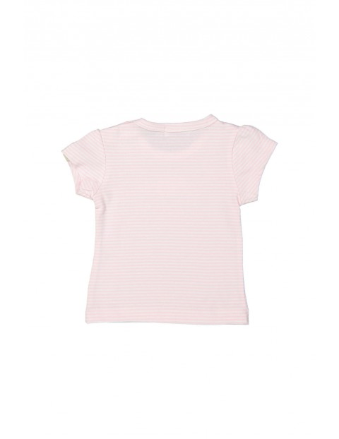 T-shirt dziewczęcy w biało różowe paski z kwiatkiem z przodu