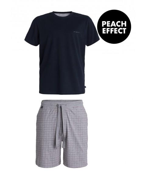 Piżama męska szorty w kratkę + t-shirt