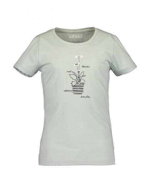 Koszulka dziewczęca zielona z roślinnym nadrukiem