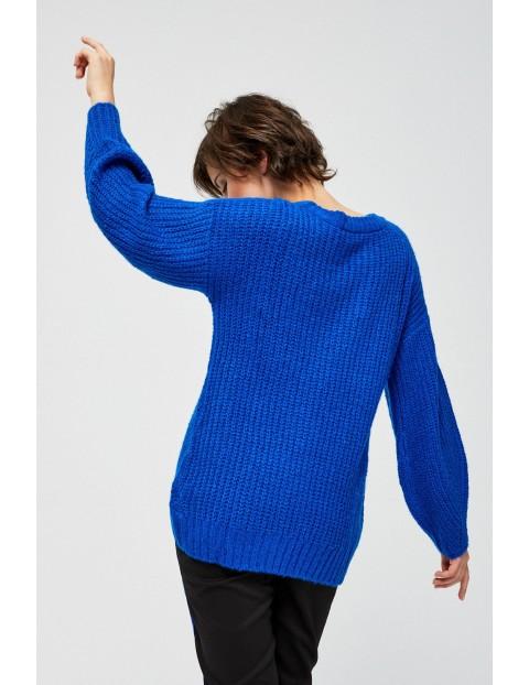 Sweter damski z bufiastymi rękawami