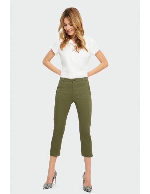 Bawełniane zielone  spodnie damskie - 7/8 nogawka