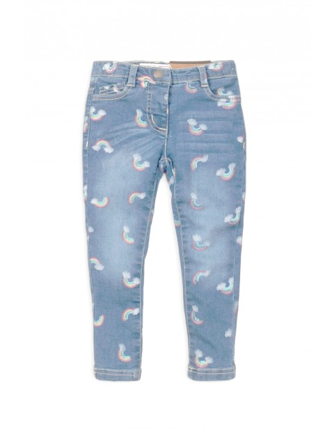 Spodnie dziewczęce jeansowe z nadrukami