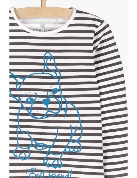 Bluzka dla dziewczynki- biało czarne paski i piesek z przodu