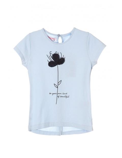 T-shirt dla dziewczynki niebieski z kwiatkiem 3D