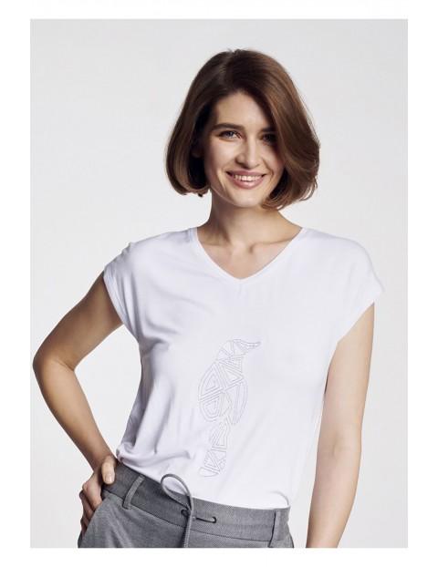 T-shirt damski biały z logo OCHNIK