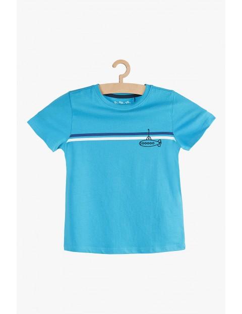 T-shirt chłopięcy niebieski bawełniany