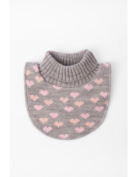 Półgolf dla niemowlaka- szary w różowe serduszka