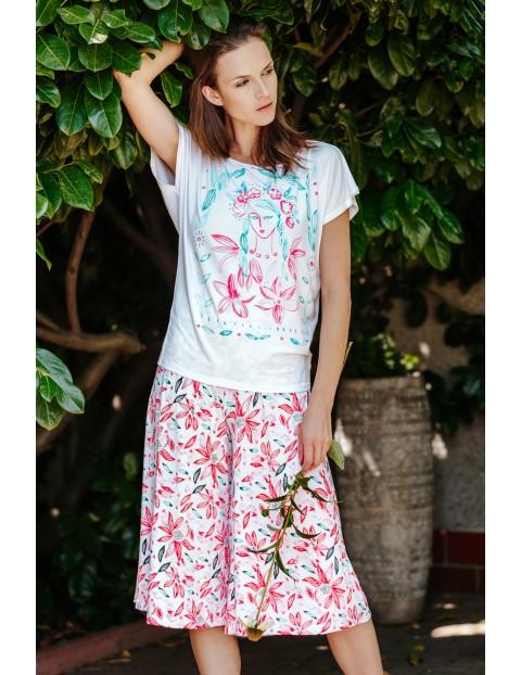Przewiewny komplet rekreacyjny - koszulka i spódnico-spodnie