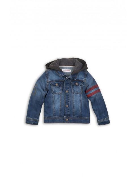 Jeansowa kurtka chłopięca z dzianinowym kapturem