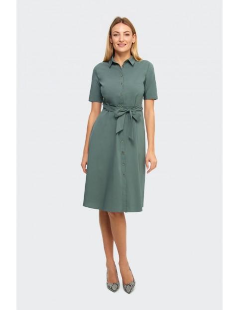 Sukienka damska koszulowa typu szmizjerka z guzikami zielona