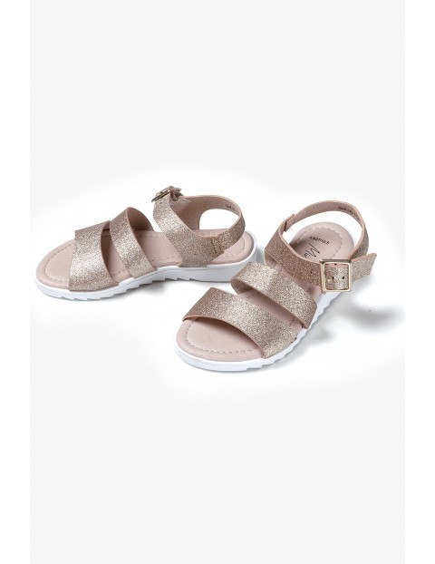 Sandały dziewczęce złote