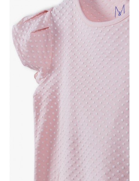 T-shirt dziewczęca z falbanka na rękawie - różowy
