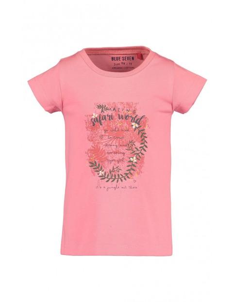 Koszulka dziewczęca różowa z kolorowym nadrukiem