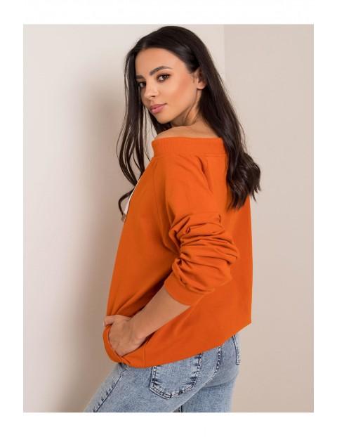 Bluza dresowa damska - pomarańczowa z kieszeniami
