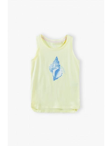 T- shirt dziewczęcy z muszelką - żółty
