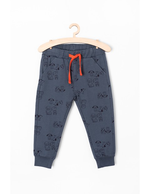 Spodnie dresowe niemowlęce granatowe w pieski