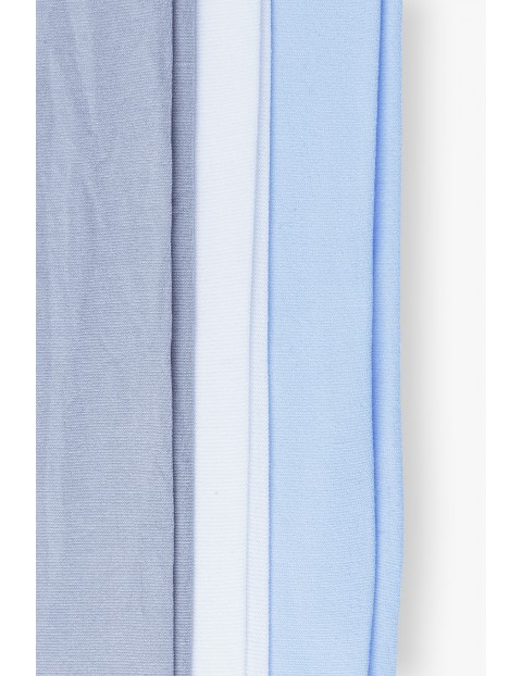 Rajstopy dziewczęce białe niebieskie szare 3-pak