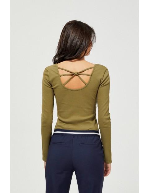 Bluzka damska  z ozdobnym tyłem - oliwkowa