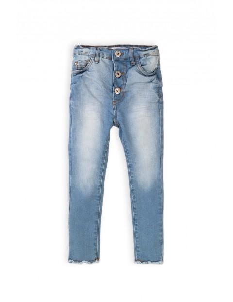 Spodnie dziewczęce jeansowe niebieskie z wybarwieniami