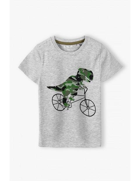 T-shirt chłopięcy w kolorze szarym z nadrukiem Dino