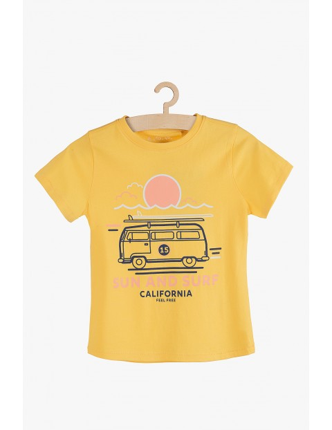 Bawełniany t-shirt chłopięcy żółty California