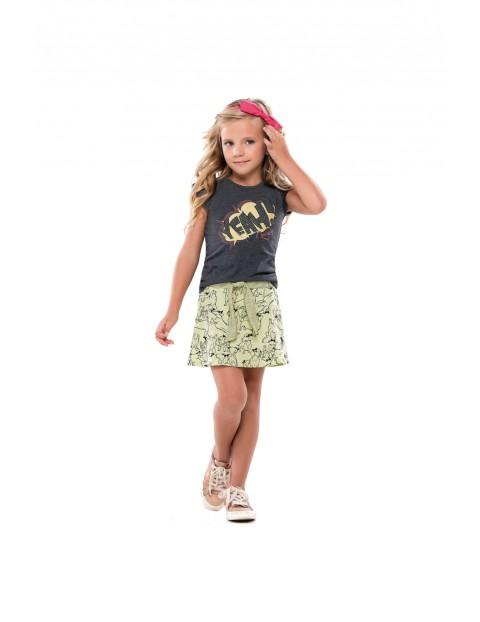 Komplet dziewczęcy spódnico-spodnie i szary t-shirt