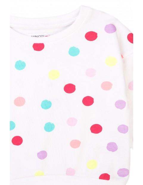 Bluza dziewczęca biała w kolorowe kropki