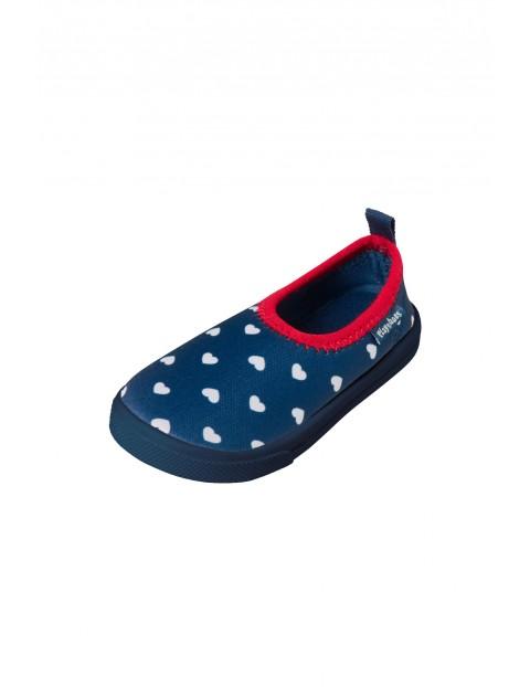 Buty kąpielowe granatowe w biale groszki z filtrem UV 50+
