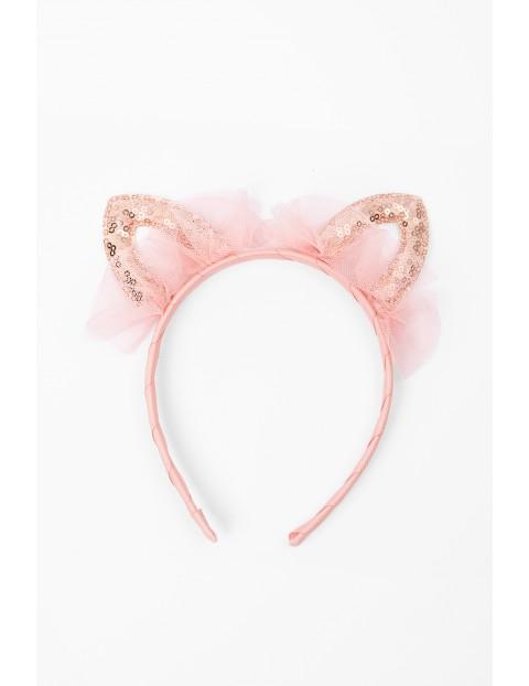 Opaska na głowę- cekinowe uszy kota