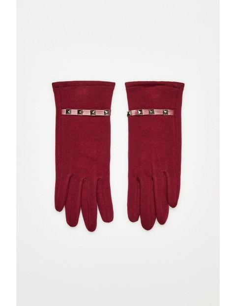 Rękawiczki damskie- dordowe z dżetami
