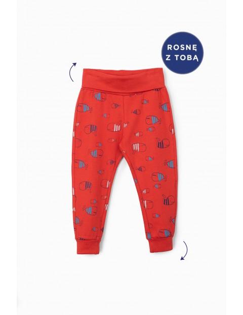 Czerwone spodnie dresowe niemowlęce z wielorybami- rosnę z tobą