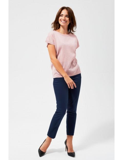 Sweter z metaliczną nitką  - różowy
