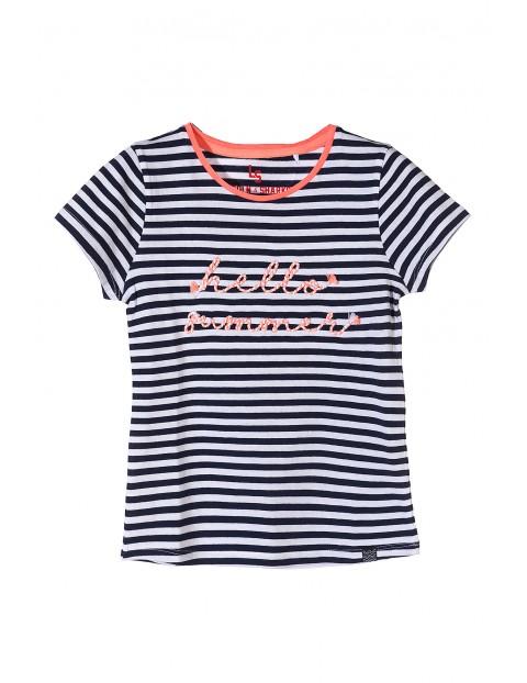 Bawełniana koszulka dziewczęca w paski- hello summer
