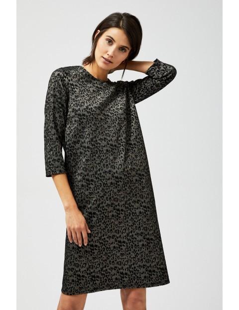 Sukienka w cętki w metaliczną nitką