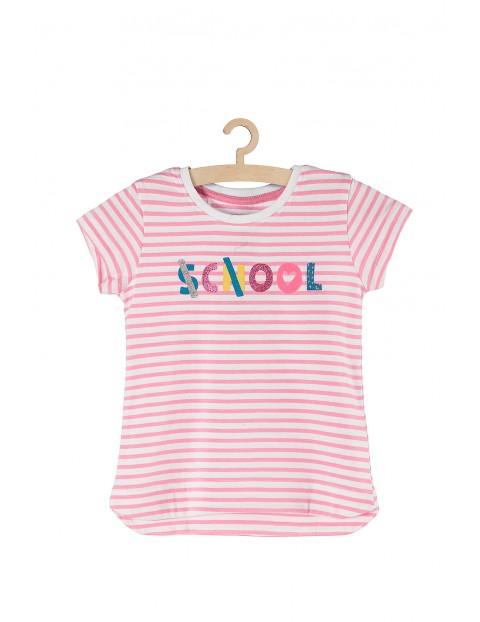 T-shirt dziewczęcy w biało różowe paski school-cool