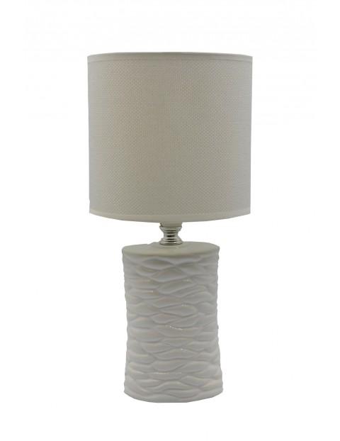 Lampa z ceramiczną podstawą i materiałowym kloszem
