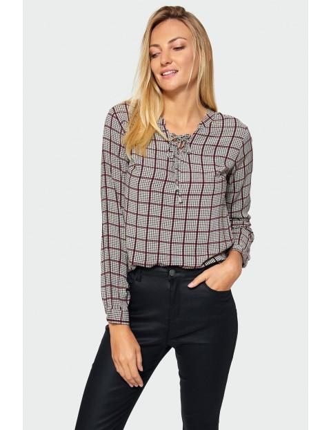 Bluzka w kratkę z ozdobnym wiązaniem- brązowa