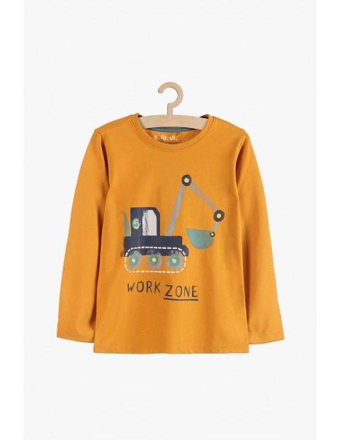 Bluzka chłopięca żółta z koparką-100%bawełna