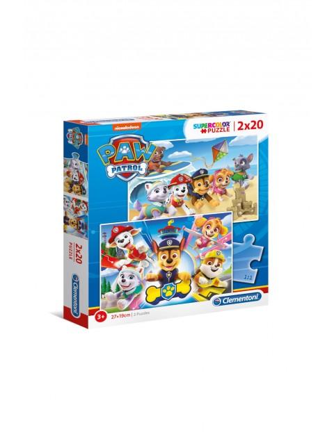 Puzzle super kolor Psi Patrol -  2 x 20 elementy wiek 3+