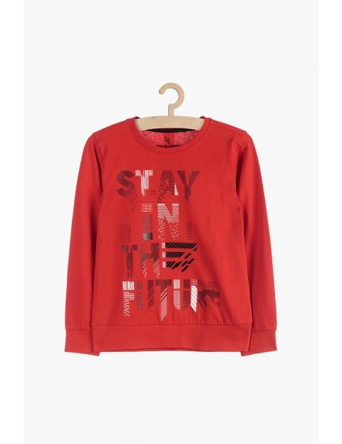 Cienka dzianinowa bluza chłopięca- czerwona z nadrukami