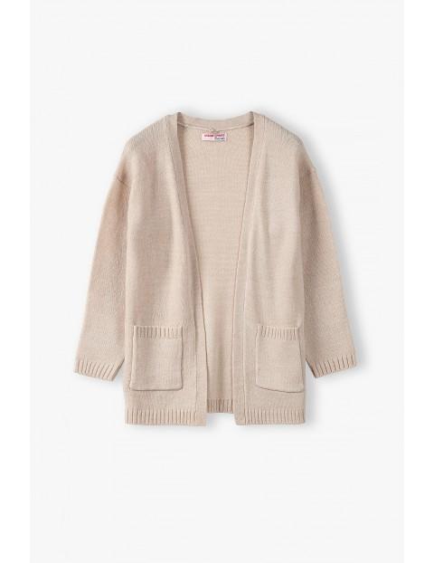 Bawełniany sweterek dziewczęcy - beżowy