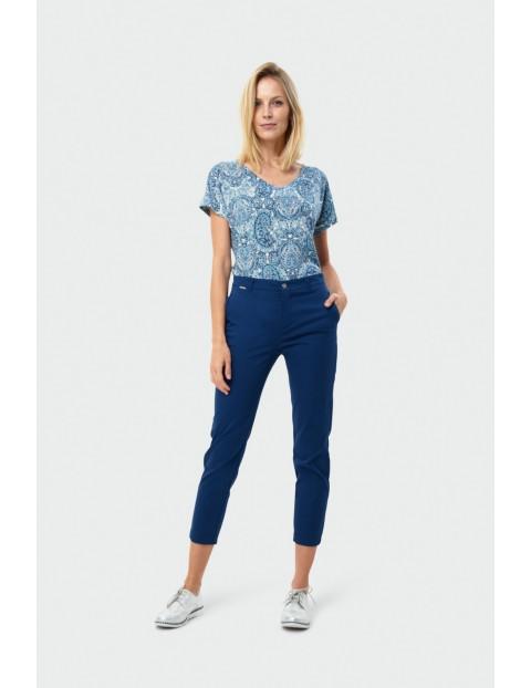 Granatowe bawełniane dopasowane spodnie damskie