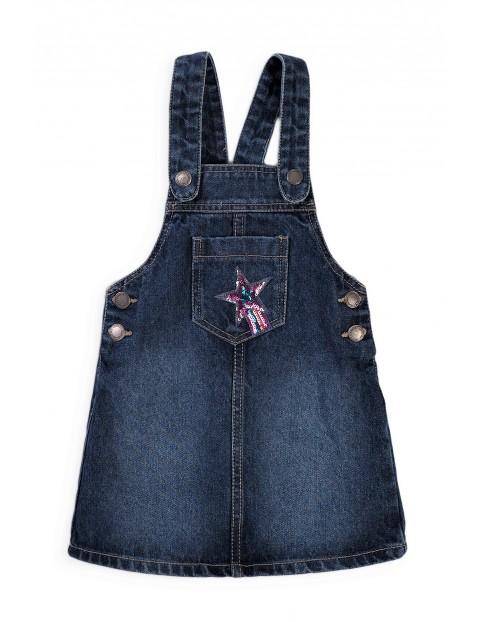 Sukienka dziewczęca jeansowa - ogrodniczka