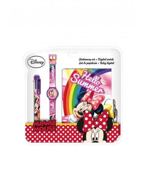 Zestaw dziewczęcy - zegark cyfrowy z  długopisem i pamiętnikiem - Myszka Minnie,