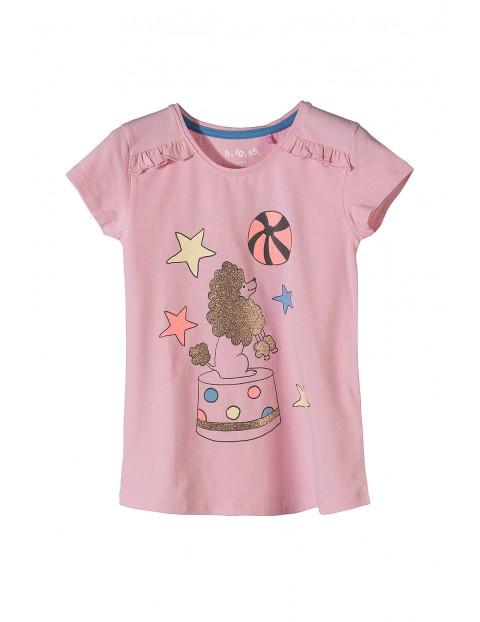 Koszulka dziewczęca różowa z brokatowym nadrukiem