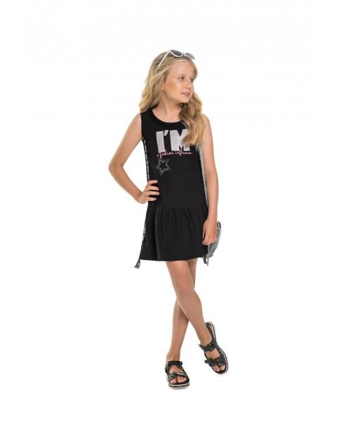 Sukienka dziecięca z napisem - czarna