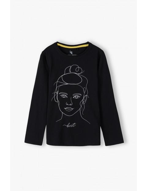 Bawełniana bluzka dziewczęca na długi rękaw z twarzą dziewczynki Best - czarna