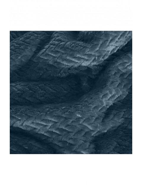 Koc w jodełkę - niebieski - 200x220cm